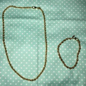 Jewelry - Braided Chain Necklace and Matching Bracelet